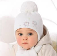 Комплект зимний Цветочки: шапка с шарфом для девочки