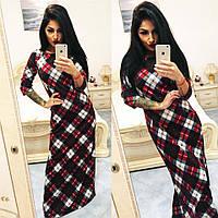 """Элегантное длинное женское платье в клетку в больших размерах 1056-1 """"Алла"""" в расцветках"""