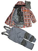 Зимний термокостюм для мальчика 3-7, 10 лет р. 98-122, 140 (куртка, брюки, манишка) ТМ PerlimPinpin Клетка VH238B