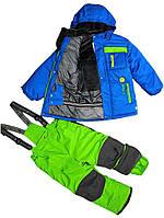 Зимний термокостюм для мальчика от 4 до 7 лет р. 104-122 (куртка, полукомбинезон, манишка) ТМ PerlimPinpin VH239B