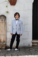 Костюм классический для мальчика 11 лет (брюки, пиджак, рубашка, бабочка) р. 146 Италия ТМ Les Gamins CM5074