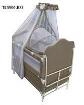 Детская кроватка Geoby TLY-900R на колесиках, металлический каркас, 2 цвета, фото 3