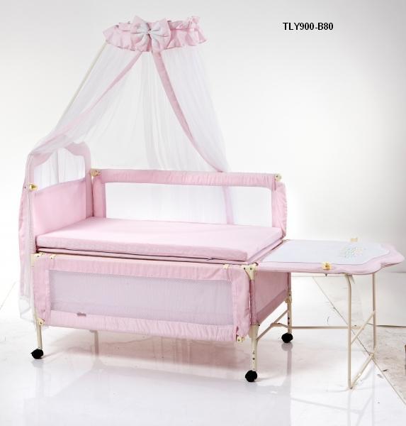 Детская кроватка Geoby TLY-900R на колесиках, металлический каркас, 2 цвета