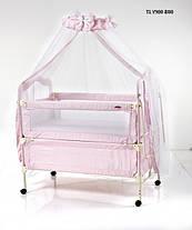 Детская кроватка Geoby TLY-900R на колесиках, металлический каркас, 2 цвета, фото 2