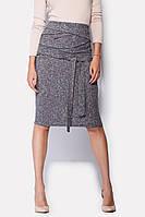 Женская серая теплая юбка по колено