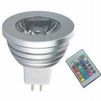 Лампа LED Lemanso MR16 RGB 3W с пультом 85-230V / LM293