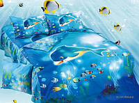 Комплект постельного белья полуторный, дельфины