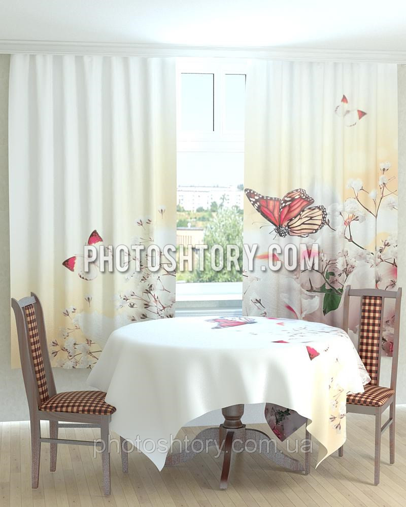 Фотошторы на кухню бабочка на цветах - Интернет-магазин PHOTOHISTORY в Днепре