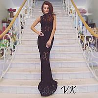 Гипюровое  вечернее платье с подкладкой черного цвета