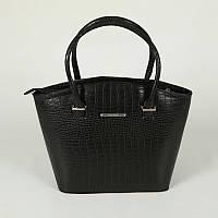 Черная фигурная сумка с крокодиловым рисунком