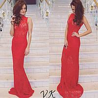 Гипюровое  вечернее платье с подкладкой  красного цвета