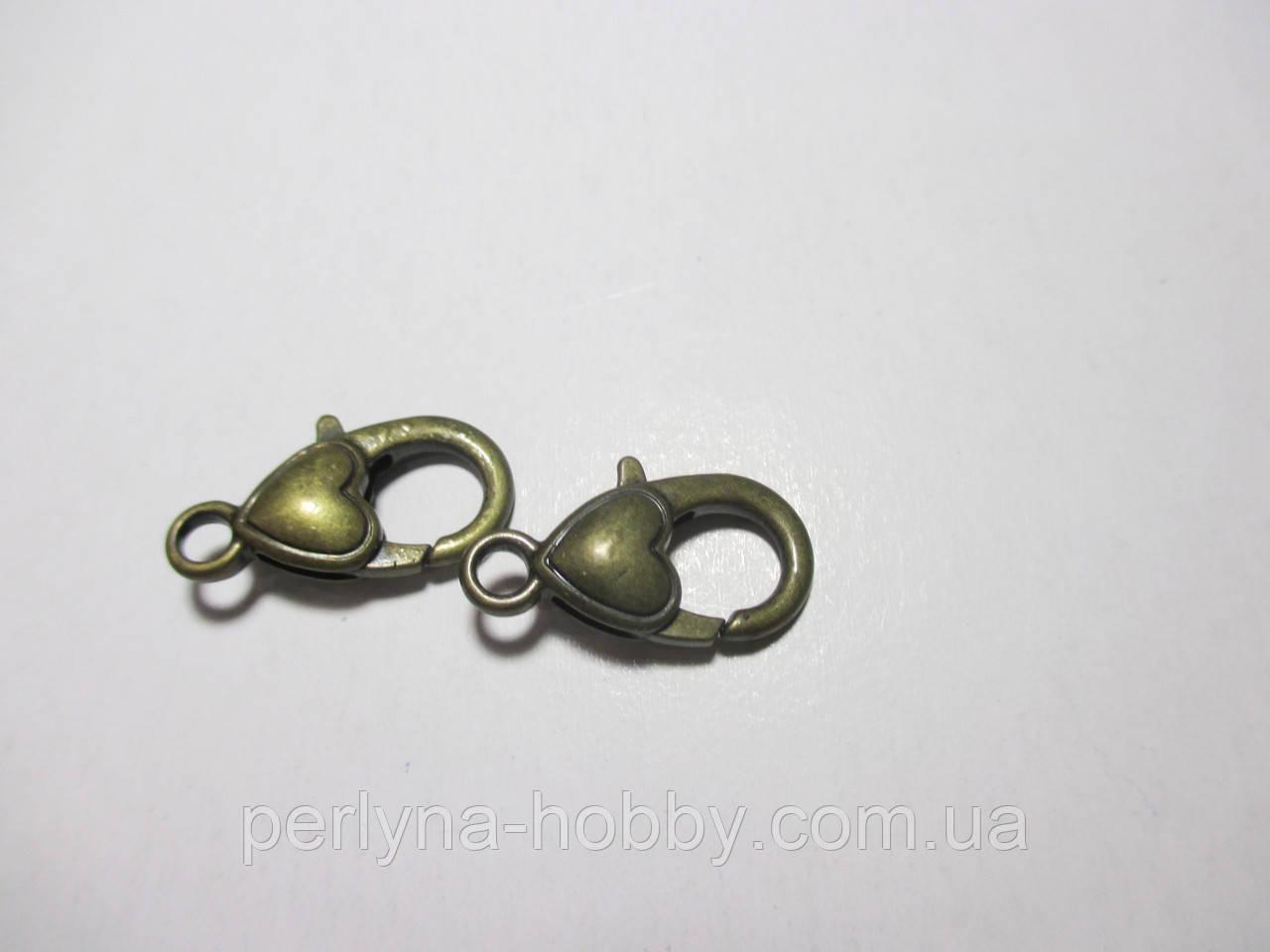 """Застібка карабін """"Сердечко"""", 22 мм. бронза, античне золото"""
