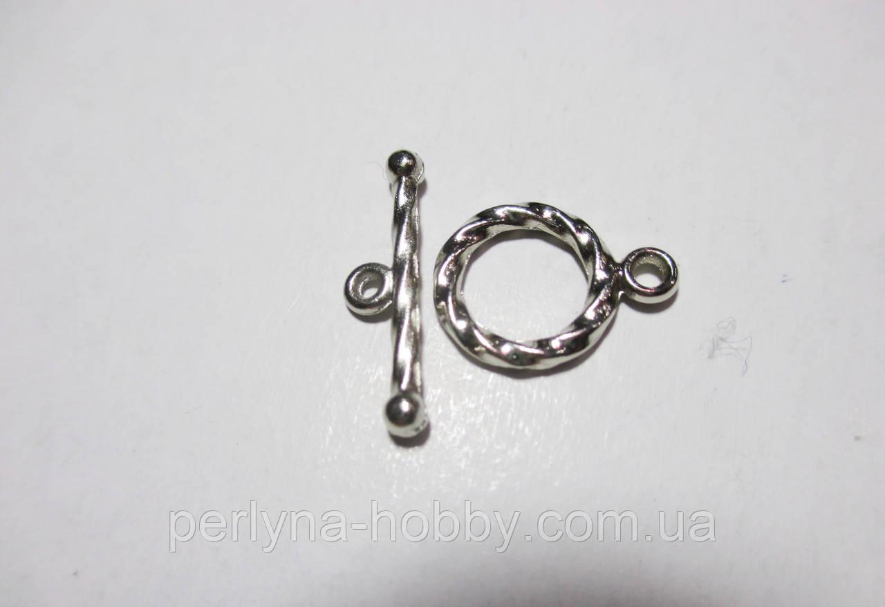 Фурнітура для бужутерії застібка тогл 15 мм, нікель