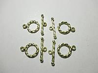 Фурнітура для бужутерії застібка тогл 15 мм, золото