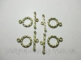 Фурнітура для бужутерії застібка тогла 15 мм, золото