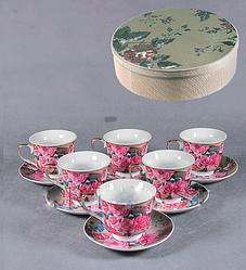 Подарочный набор из 6 чашек фарфор с розами купить в Харькове