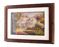 "Ключница-шкатулка настенная без крючков, 36х5х28 см. ""Загородный дом"" коричневая"