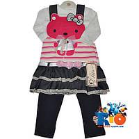 """Детский сарафанчик с батником и лосинками """"Hello Kitty"""" , для девочки от 1-4 лет"""