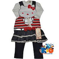 """Детский сарафанчик с батником и лосинками """"Hello Kitty"""" , для девочек от 1-4 лет"""