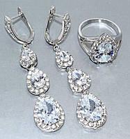 """Набор  """"серьги и кольцо"""",покрытие родием. Камень:белый циркон. Высота серьги: 6 см Ширина: 12 мм 18"""