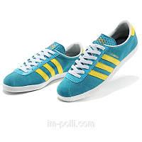 Кроссовки Adidas London бирюзовые с желтым