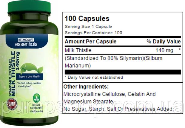 Для поддержания и восстановления печени  Betancourt Nutrition Milk Thistle 100 капс., фото 2