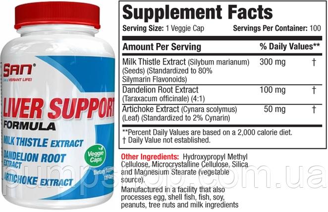 Для поддержания и восстановления печени San Nutrition Liver Support Formula 100 капс., фото 2
