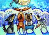 Зимняя открытка Колядники