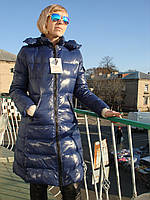 Пуховик женский удлиненный Moncler темно-синий стильный наполнитель пух