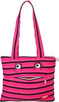 Современная сумка Monsters Tote/Beach Zipit ZBZM-2, цвет Pink Begonia&Black Teeth (розовый)