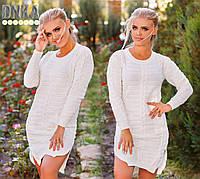 Белое турецкое платье с бусами и карманами. Арт-9116/3