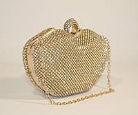 Вечерний клатч, сумочка Rose Heart 1250 золото, камни