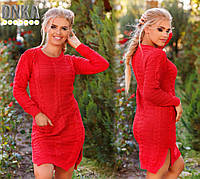 Красное турецкое платье с бусами и карманами. Арт-9116/3