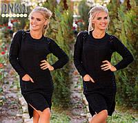Черное турецкое платье с бусами и карманами. Арт-9116/3
