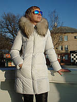 Пуховик женский удлиненный стильный белый наполнитель пух натуральный мех