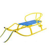 Санки детские желтые с голубым Спорт