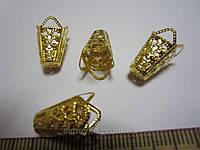 Конус для бусин, бутона, цветка канзаши, цвет золотистый, длина 2 см, упаковка 10 шт.