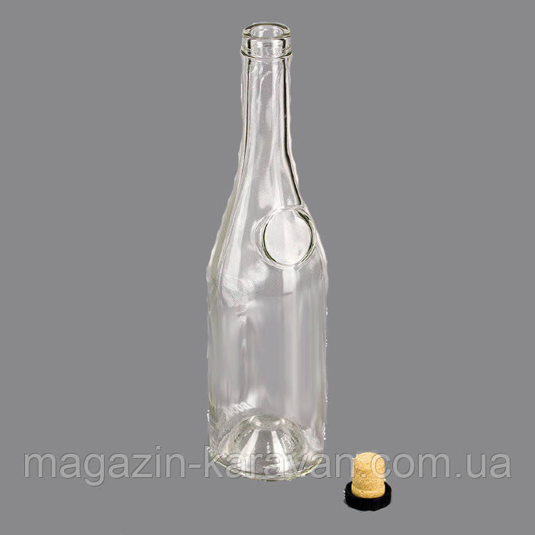 Бутылка стеклянная для коньяка 0,5 л. в комплекте с пробкой Т-19 мм