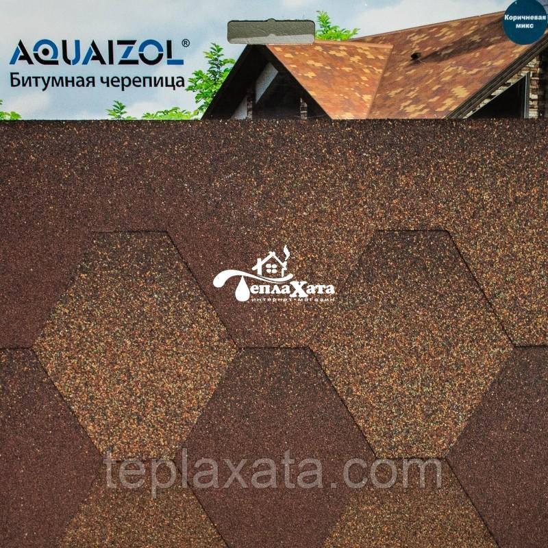 ОПТ - Акваизол Мозаика коричневый микс Битумная черепица (3 м2/уп) - Харьков