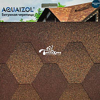 Акваизол Мозаика коричневый микс Битумная черепица (3 м2/уп)