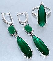 """Набор  """"серьги и кольцо"""",покрытие родием. Камень:белый и зелёный циркон. Высота серьги: 5,5 см Ширина: 8 мм"""