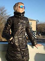 Пуховик женский удлиненный стильный черный  наполнитель пух