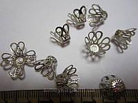 """Обниматель для бусин-конус """"цветок"""", длина 13 мм, уп. 10 шт. Серебристый"""