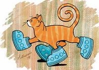 """Красивая открытка для посткроссинга """"Кот в угги"""""""