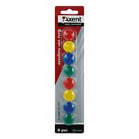 Набор магнитов Axent в цветном пластиковом корпусе, круглые, диаметром 20 мм 9820-А