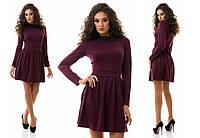 Платье  трикотажное с льняным кружевом по горловине