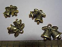 """Кулон (подвеска) """"Колокольчики"""" металлическая, цвет золотистый, размер 16*14 мм. Осталась 1 шт."""