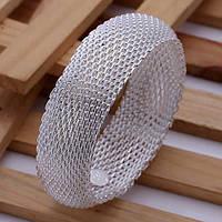 """Широкий женский браслет на руку """"Алания"""" покрытие серебро"""