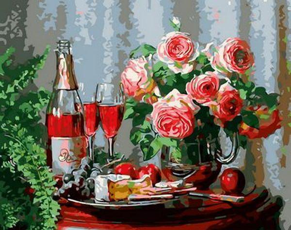 Набор-раскраска по номерам Натюрморт с сыром и красным вином  худ. Мортон Анн