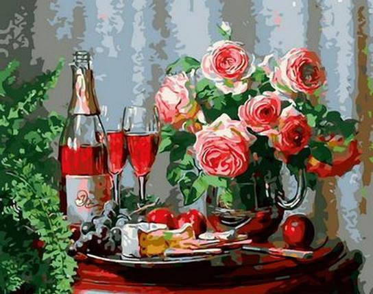 Набор-раскраска по номерам Натюрморт с сыром и красным вином  худ. Мортон Анн, фото 2